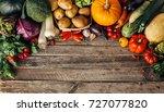 fresh organic raw vegetables on ... | Shutterstock . vector #727077820