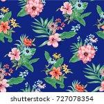 seamless trendy tropical... | Shutterstock .eps vector #727078354