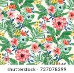 seamless trendy tropical... | Shutterstock . vector #727078399