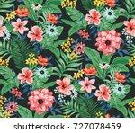 seamless trendy tropical... | Shutterstock . vector #727078459