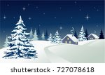 winter country landscape | Shutterstock .eps vector #727078618