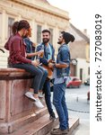group of young friends hangout... | Shutterstock . vector #727083019