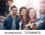 group of young friends and... | Shutterstock . vector #727084870