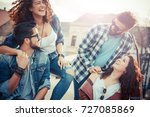 group of friends laughing and... | Shutterstock . vector #727085869