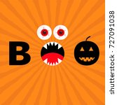 word boo text with smiling sad... | Shutterstock . vector #727091038
