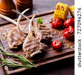 lamb ribs grilled on cutting...   Shutterstock . vector #727096276