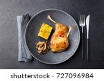duck legs confit with potato... | Shutterstock . vector #727096984