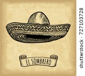 hand drawn sombrero on old... | Shutterstock .eps vector #727103728