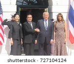 Small photo of President Trump and First Lady Melania Trump welcome Prime Minister Prayut Chan-o-cha and Madam Chan-o-Cha of Thailand at White House in Washington, DC on October 2, 2017.