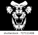 angry lion. digital draing | Shutterstock .eps vector #727111408