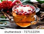 herbal tea with cranberries ... | Shutterstock . vector #727112254