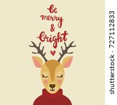 christmas greeting card. hand... | Shutterstock .eps vector #727112833