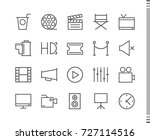 flat vector icons with a thin... | Shutterstock .eps vector #727114516