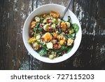 vegan fall salad with squash ... | Shutterstock . vector #727115203