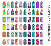 set of colored painted nails.... | Shutterstock .eps vector #727115410