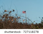american flag fly in wind over... | Shutterstock . vector #727118278