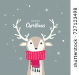 Merry Christmas Card With Cute...