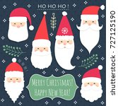 christmas and new year set with ... | Shutterstock .eps vector #727125190
