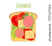 sandwich with tomato  pepper ... | Shutterstock . vector #727127314