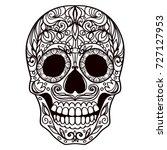 ornate sugar skull | Shutterstock .eps vector #727127953