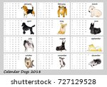 dogs calendar 2018. watercolor... | Shutterstock . vector #727129528