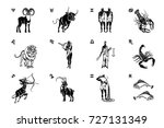all twelve zodiac signs black... | Shutterstock .eps vector #727131349