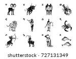 all twelve zodiac signs black... | Shutterstock .eps vector #727131349