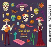Stock vector set of color drawings in cartoon style day of the dead mexican symbols 727132198