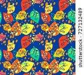 seamless autumn leaves pattern... | Shutterstock .eps vector #727132489