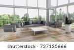 modern bright interiors. 3d... | Shutterstock . vector #727135666