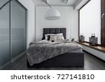 gray and white bedroom with... | Shutterstock . vector #727141810