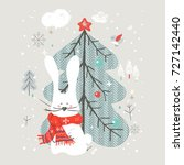 cute bunny with christmas tree... | Shutterstock .eps vector #727142440