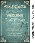 vintage wedding card with... | Shutterstock .eps vector #727143586