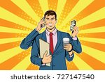 businessman with many hands... | Shutterstock .eps vector #727147540