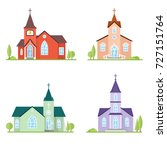set of flat icon churches. for... | Shutterstock .eps vector #727151764