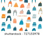 christmas greeting card with... | Shutterstock .eps vector #727153978