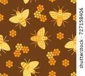 pattern of a seamless bee on a... | Shutterstock .eps vector #727158406