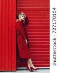 fashion stylish woman posing ... | Shutterstock . vector #727170154
