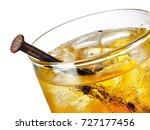 rusty nail cocktail  close up | Shutterstock . vector #727177456