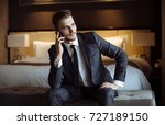young handsome man relaxing at... | Shutterstock . vector #727189150