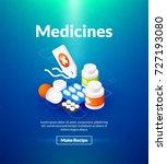 medicines poster of isometric...   Shutterstock .eps vector #727193080