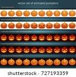 animated pumpkins. vector set... | Shutterstock .eps vector #727193359