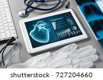 white tablet pc and doctor... | Shutterstock . vector #727204660