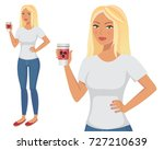young attractive blonde tanned... | Shutterstock .eps vector #727210639