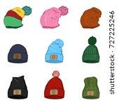 vector set of sketch winter... | Shutterstock .eps vector #727225246