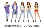 collage fashion five women.... | Shutterstock . vector #727227880