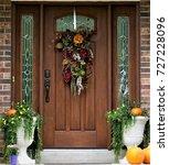 front door ready for autumn | Shutterstock . vector #727228096