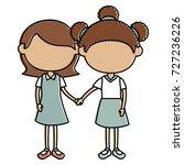 cute little girls characters | Shutterstock .eps vector #727236226