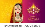 happy diwali festival card with ... | Shutterstock .eps vector #727241578