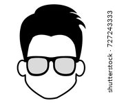 young man head with glasses... | Shutterstock .eps vector #727243333